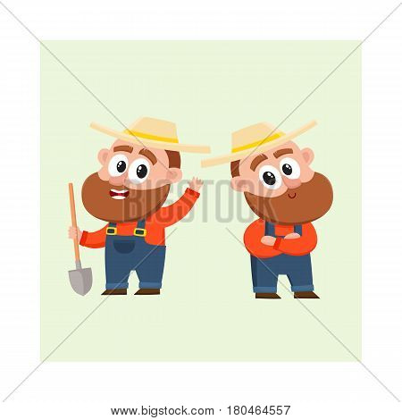 Two funny farmer, gardener characters in straw hat and overalls, holding shovel, arms crossed on breast, cartoon vector illustration isolated on white background. Couple of comic farmer characters