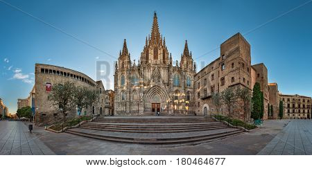 BARCELONA SPAIN - NOVEMBER 16 2014: Panorama of Cathedral of the Holy Cross and Saint Eulalia in Barcelona. The cathedral was constructed from the 13th to 15th centuries.