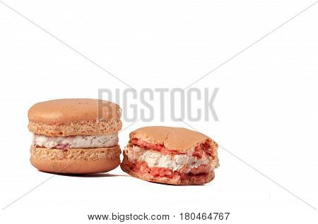 Smashed Fresh Pink Macarons With Soft Cream Inside, Isolated