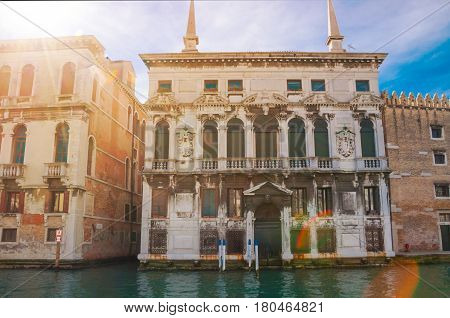 A building on the famous Canal Grange in Venice city, Italy