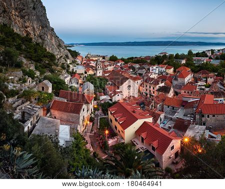 Aerial View of Omis and Church of the Holy Cross in the Evening Omis Dalmatia Croatia
