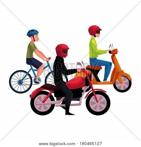 Motorcycle, scooter and bicycle drivers, riders wearing helmet, side vew, cartoon vector illustration isolated on white background. Motorcycle, scooter, bicycle, types of typical urban transport