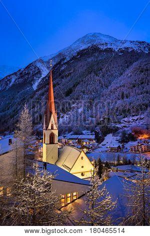 Solden Ski Resort Skyline in the Morning Tirol Austria