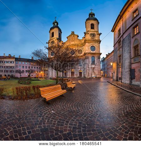 Saint Jacob Cathedral in the Morning Innsbruck Tirol Austria