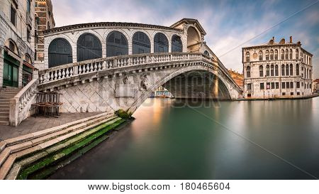 Panorama of Grand Canal and Rialto Bridge in the Morning Venice Italy