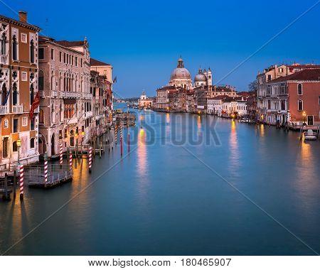 Grand Canal and Santa Maria della Salute Church in the Evening Venice Italy