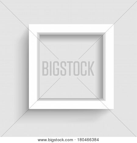Presentation square picture frame design with shadow on gray background