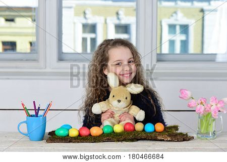 Happy Girl With Rabbit Toy, Pencil, Tulip Flowers, Easter Eggs