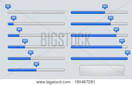 Progress loading, installation bar. Web interface sign