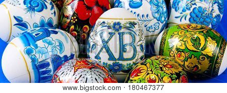 Sofia, Bulgaria - April 7, 2017: Holiday background still life with many colorful Russian traditional Easter eggs
