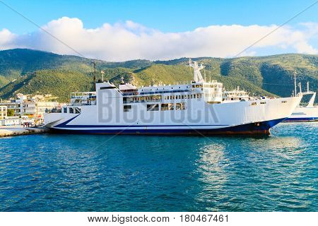 The ferry on the Mediterranean Sea in Greece. The ferry Corfu - Igoumenitsa in the port of Igoumenitsa.