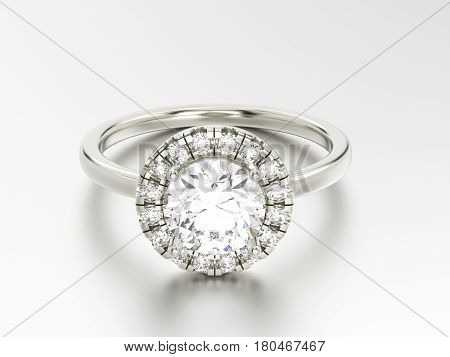 3D illustration gold silver ring with diamonds on a white background