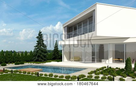 Architect designed home with offset floors angled in different directions in a neat landscaped garden against a forest backdrop on a sunny day. 3d rendering.