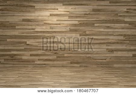 Wood finish feature wall over hardwood parquet flooring in a bare room interior with copy space for your design decor. 3d rendering.