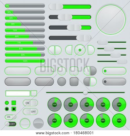 Set of user interface buttons and elements - progressive bar, slider, toggle switch. Gray and green collection. Vector illustration