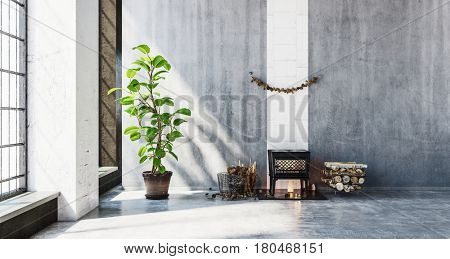Small wood heating stove in room beside stack of logs. Large walls include copy space. 3d rendering.