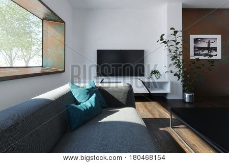 Room with fabric couch and coffee table, TV over white wall and indoor plants, with wide deep window. Minimalist interior design. 3d Rendering.