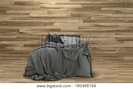 Untidy messy bed in a room with a feature wooden wall over a hardwood parquet floor in a modern minimalist interior. 3d rendering.