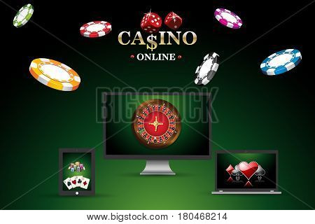 Banner template site for playing online in poker casino. Background with roulette casino chips playing cards