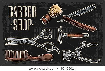 Set tool for BarberShop with comb razor shaving brush scissors bottle spray and hair cutting machine. Vector drawn vintage engraving for logotype poster banner. Isolated on dark background