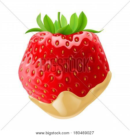Big Tasty Strawberry Dipped in White Chocolate Fondue