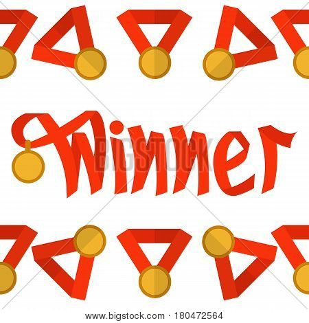 Word winner made with red ribbon with medal. Vector. Symbolizes victory, success.