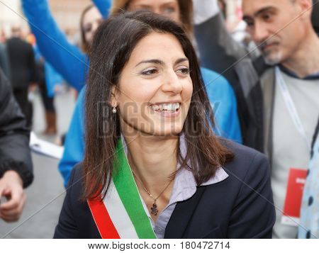 Rome Italy - April 2 2017: The mayor Virginia Raggi attends the Rome marathon.