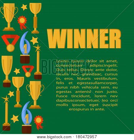 Green templater with sport cups, medals and word winner, flat. Vector.