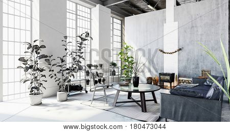 Interior of stylish modern penthouse apartment with large windows, houseplants and partition wall. 3d Rendering.