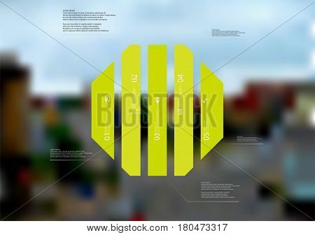 Illustration infographic template with motif of octagon vertically divided to five standalone green sections. Blurred photo with city motif with crossroad of streets is used as background.