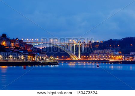 A new car bridge over the Douro River in the night illumination. Porto. Portugal.