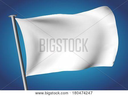 white flag waving on the sky. Customizable flag. vector illustration. gradient mesh. EPS 10