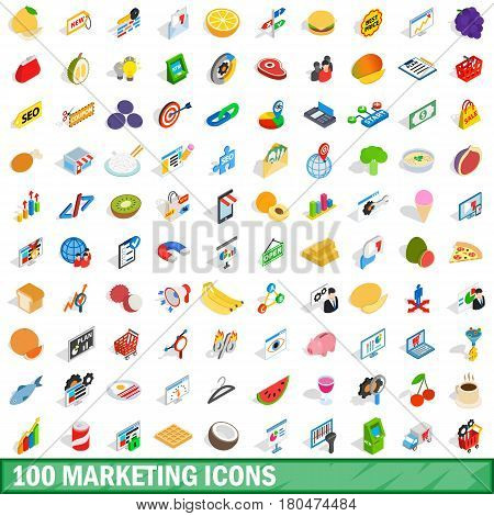 100 marketing icons set in isometric 3d style for any design vector illustration