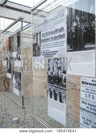 BERLIN, GERMANY - JULY 20, 2016: Topography of Terror, outdoor museum wall detail close up. Berlin 1933 - 1945 between terror and propaganda. Nazi regime history exhibition, former Gestapo and the SS headquarters in Berlin, Germany