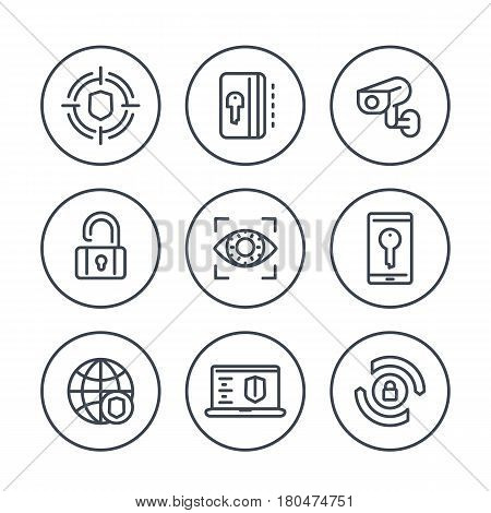 Security and protection line icons in circles on white, secure network, key card, lock, shield, cctv camera, firewall