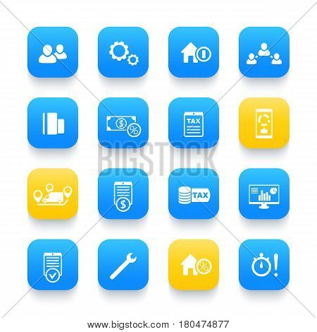 16 finance, costs, payroll, invoice, bill icons on rounded square shapes, vector illustration