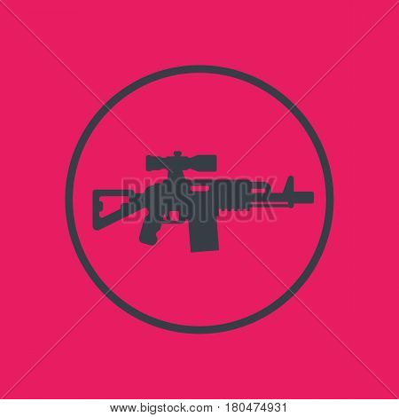 assault rifle icon in circle, gun, firearm with optical sight