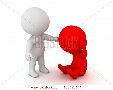 3D Character offering comfort to a sad depressed person. This image depicts the importance of emotional support.