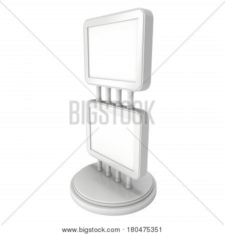 LCD Screen Double Stand. Blank Trade Show Booth. 3d render of lcd screen isolated on white background. High Resolution. Ad template for your expo design.