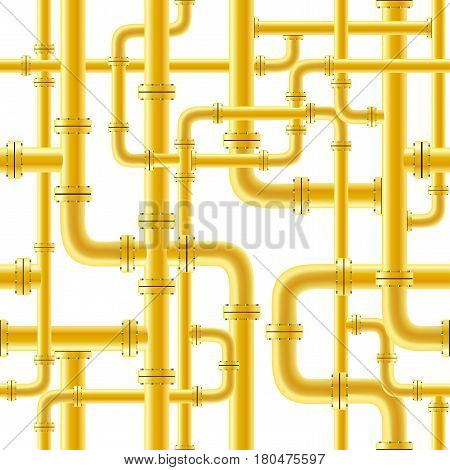 Yellow pipe seamless on white background. Industry pump gas oil gasoline diesel fuel supply system. Pipeline project plan. Easy to edit