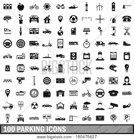 100 parking icons set in simple style for any design vector illustration