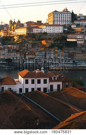 Bird's-eye view Douro river at old downtown of Porto, Portugal.