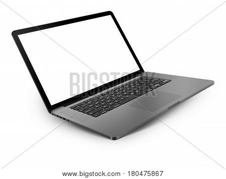 Laptop with blank screen isolated on white background, dark aluminium body. Whole in focus. High detailed, resolution image. 3d illustration.