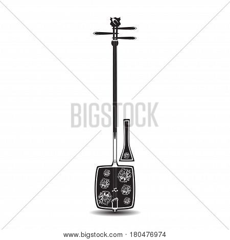 Vector illustration of shamisen isolated on white background. Black and white japanese plucked string musical instrument decorated with chrysanthemum flowers flat design.