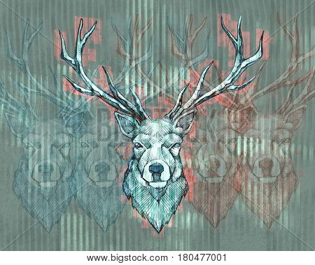 Hand drawn Illustration or drawing of a long horn deer