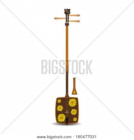 Vector illustration of shamisen isolated on white background. Japanese plucked string musical instrument decorated with chrysanthemum flowers. Flat style design.