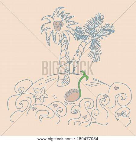 Palm trees silhouette with coconut on island in the sea. Hand drown Vector illustration.