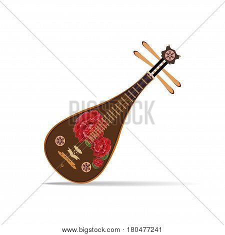 Vector illustration of liuqin isolated on white background. Chinese plucked string musical instrument with peony flowers in flat design.