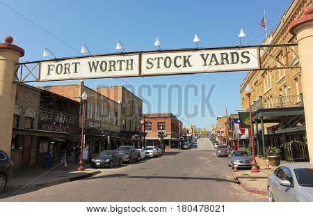 FORT WORTH, TEXAS, MARCH 15. The Fort Worth Stockyards on March 15, 2017, in Fort Worth, Texas. A Welcome Sign at the Fort Worth Stockyards historic district in Fort Worth, Texas.