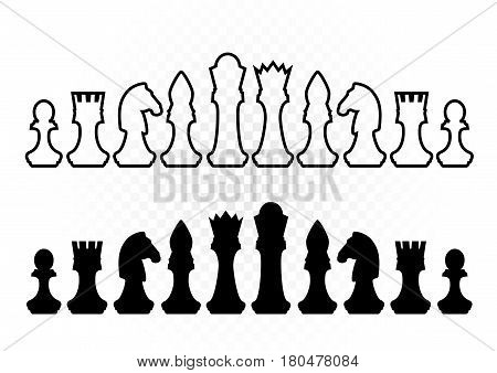 White and black chess silhouette figures set collection on white background. Items for intellectual strategic chessboard game